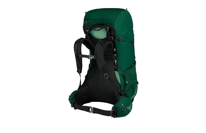 Hiking backpack with suspended mesh frame